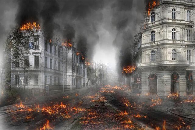 崩壊している町